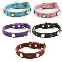 2014 NEW Free shipping wholesale Diamond Rhinestone dog collar Genuine leather dog collar Antique brass plated metal