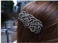 (MIN ORDER $15)Pure hand-woven winding super flash crystal beaded  hairpin D827