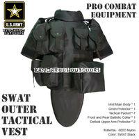 ACU OTV MOLLE Compatible Modular Military Tactical Vest sets Combat Body Armor Vest Adjustable Size (TV-07) SWAT Black