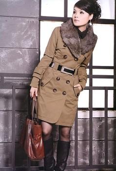 2014 Faux Fur Lining Women's Fur Collars Ladies Coats Winter Warm Long Coat Jacket Cotton Clothes Thermal Parkas #10106