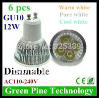 Free shipping 6 pcs Dimmable 12W 9W Cree GU10 MR16 E27 B22 E14 GU5.3 High Power LED Spotlight Downlight Bulb Lamp LED Lighting