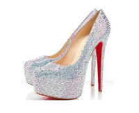 2013 New Arrival Women's Sexy 14 Cm High Heel Rhinestone Red Sole Wedding Banquet Shoes Plus Size 9-11  Free DropShipping!LSB044