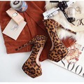 Promotion! Womens 2013 Platform Leopard Shoes Super High Heel Pump Sexy Round Toe Shoes(China (Mainland))