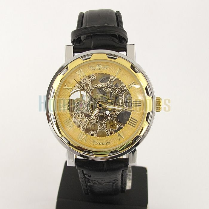 More than 2lots 7% discount 30pcs DHL free shipping Luxury Mechanical Watch Mens Gold Tone Skeleton Auto Leather Watch(China (Mainland))