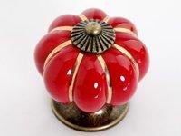 Lot of 30 Colorful Pumpkin Cabinet Knobs Ceramic Kirchen Drawer Pulls Furniture Handle (Diameter:40mm,Color:Red)