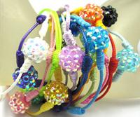 Wholesale Candy Color Resin Disco Ball Shamballa Bracelet Hand made bracelet Mixed Lots(10pc/lot)