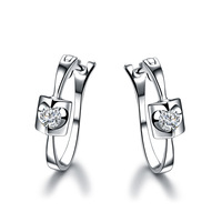 ZOCAI TRENDY ANGEL'S KISS 0.12 CT NATURAL DIAMOND LEVERBACK HOOP EARRINGS EARRING JEWELRY ROUND CUT 18K WHITE GOLD
