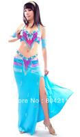 Belly Dance Costume set 3 pics Bra&Belt&skirt 34B/C36B/C 38B/C 10 colour ARIA01