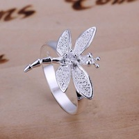 Free Shipping 925 Sterling Silver Ring Fine Fashion Zircon Dragonfly Silver Jewelry Ring Women&Men Gift Finger Rings SMTR017