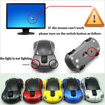 (5pcs / lot) USB  2.4GHz 1000 DPI Optical Wireless Mouse Car Mice for Laptop PC MAC free shipping