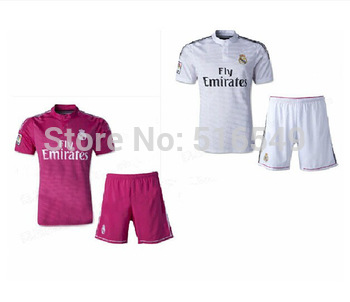 2013-2014 best quality REAL MADRID short sleeve soccer jerseys kit, OZIL #10 RONALDO # 7football shirt