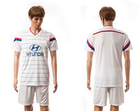 New Arrival 2014 2015 Lyon home white soccer uniforms Fashion football shirts thailand quality sports jerseys kits Free Shipping