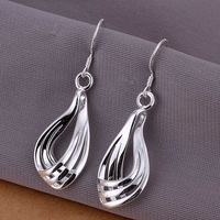 Hot Sale!!Free Shipping 925 Silver Earring,Fashion Sterling Silver Jewelry Corrugated Three-wire Earrings SMTE230