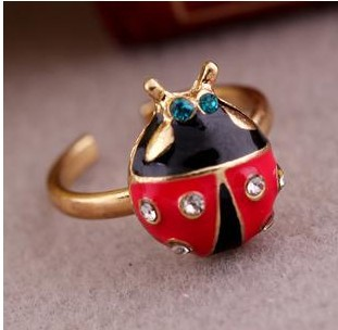 Fashion Accessories Vintage  Red Lovely Ladybug Ring Fashion Animal JewelryR566