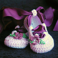 Baby crochet ballet shoes ribbon flower leaf rhinestone first walker shoes 14pairs/lot mix design custom