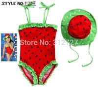 Retail! 1set watermelon dot free shipping kids girls swim wear children bathing suit dot baby swimwear with hat