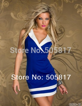 3 Colors New 2014 New Pretty Women Mini Sheath Dresses Sexy Beauty Fashion Casual Dress Lingerie Deep V blue white red MN97