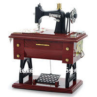 Vintage Mini Sewing Machine Style Mechanical Music Box Charming Style Elegance Sculpt Gift