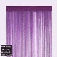 Purple Fringe Door Curtain Panel String Curtain Tassel Blind 3 ft X 12 ft (90x365cm)