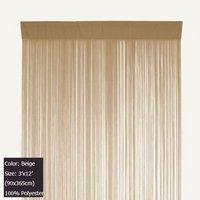 Beige Tassel Door Curtain String Curtain Panel Fringe Backdrops Polyester Room Divider 3 ft X 12 ft (90x365cm)