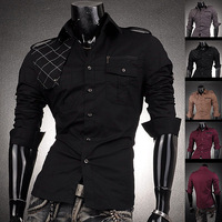 HoT Sale 2014 Men's Fashion Cotton Designer Cross Line Slim Fit Dress man Shirts Tops Western Casual S M L XL 8371