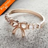 2014 New Fashion Korean Jewelry Simple Imitation Diamond Bow Ring New bowknot Ring Girl Ring66R588/66R589