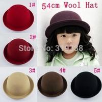Classic Fedora Children wool hats Little girl Photo Prop Round Top hat Kids caps Bowler Dome cap 12pcs/lot BH176