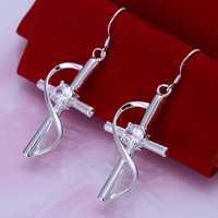 Hot Sell!Wholesale 925 silver earring,925 silver fashion jewelry Earrings,Inlaid Cross Earring SMTE194