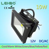 10pcs/Lot 12V AC/DC  LED Flood Light 10W Warm White Outdoor Lights black case High Power IP65 Green Blue Yellow Red LW1