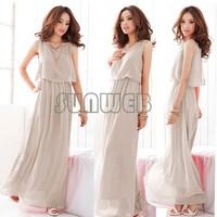 4pcs/lot 2014 New Women Bohenmia Pleated Wave Lace Strap Princess Chiffon long Maxi dress Four Colors Hot Sell  B16 3694