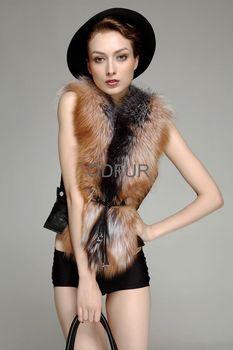 Women Genuine Fox Fur and PU Leather  Vest  Lovely Fashion Lady Cloth  Free Shipping  QD23559