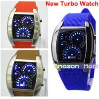 New RPM Turbo Watch Blue Flash LED Men Wristwatch Sport Car Dial Rubber Strap 6 Colors High Quality Wholesale