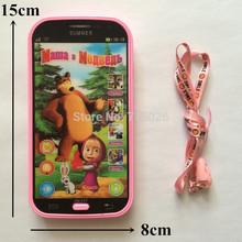 Teléfono móvil de juguete Máquinas de aprendizaje del idioma ruso Hablar Masha y oso del Aprendizaje y Educación Electrónica Juguetes Bebé Juguetes Vista 3D(China (Mainland))