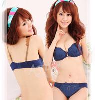 Free Shipping Flower Button Vintage Blue Pink Cotton Bra Set Underwear Set