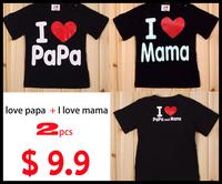 09-003  I love papa + I love mama 2pcs/lot black t-shirt for chidren boys and girls kids top love tshirt baby t shirt