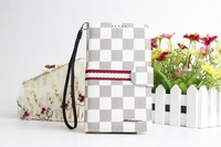 MOQ:1pc Chess-pattern leather Flip Cover purse For Samsung Galaxy Note II 2 N7100,free HK/China post  S005