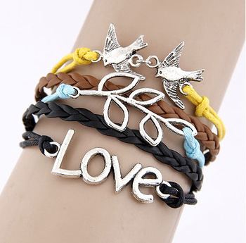 QQ Jewelry wholesale Vintage Love Bird Branches Multilayer Woven bracelet cxt9295