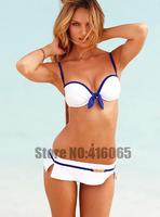 2 PCS Bikini Set Push Up Padded Swimmers Women's Swimwear Swimsuit Fashion Bathing Suit Bandeau diamond swimsuit Suit White