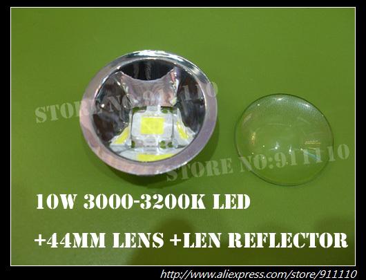 10W Warm White Led +44mm Optical Convex Glass Lens +Len Reflector 3 Pieces Set(China (Mainland))
