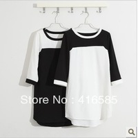 fashion design half sleeve black and white color block one-piece dress