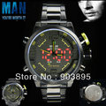 Men's Military watch Dual Time LED Digital analog quartz watch Japan MOVT 3ATM WR black S/steel band Valentine's Day gift