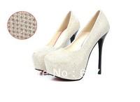 new Sex Thin High Heels shoes womens Platform womens Pumps Shoes dress girls shoes 14CM Black/Silver