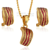 Christmas Gift Fashion Gorgeous Enamel Set High Quality 18K Real Gold Plated Necklace Earrings Jewelry Sets For Women S2041