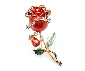 Free Shipping!Decorative Garment Dress Accessories Wedding Bridal Luxury Rhinestone Flower Rose Enamel Brooch Pin