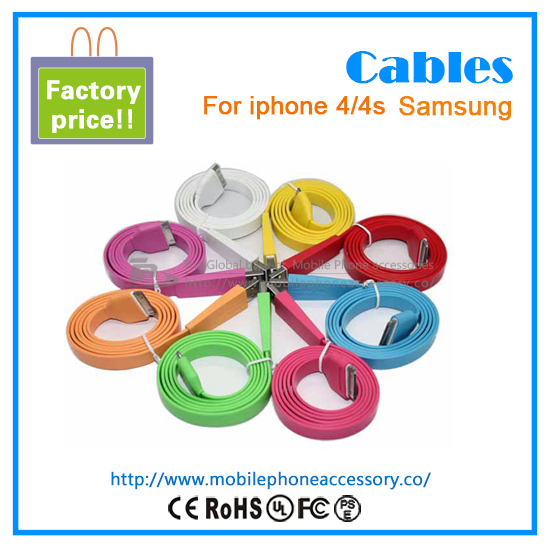 2013 new!!sale hot! colorful noodle cable 30 Pin connector for iPhone 4s 4 3G with factory pirce(China (Mainland))