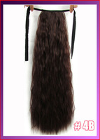 "22""(55cm) 90g kinky curly ribbon ponytail hairpiece hair pieces clip in hair extensions color #4B Medium Brown"
