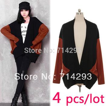 Hot sale! 4pcs/lot free shipping Fashion Women's Cardigan Girl V-Neck Thin Loose Cardigan Long Sleeve Coat Jacket Outwear 8775