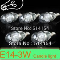 5PCS E14 3W AC85~265V white/ wam white LED Candle Light Round cover LED Light Bulb Lamp