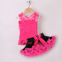 New Arrival Girls Skirt  Fashion Pettiskirt  Pink Tutu Top and Ribbon Tutu Skirts For Children Clothes TC21219-01^^FT