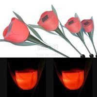 12Pcs/Lot Solar Lamp For Outdoor Garden LED Tulip Solar Landscape Flower Light Lamp Red Free Shipping 6879